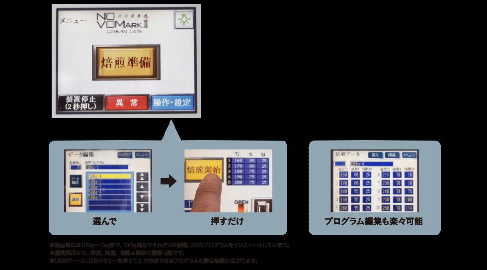 NOVO MARK Ⅱ 操作画面 珈琲豆を焙煎する方法